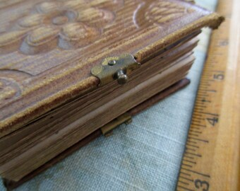"small 3.5"" x 3"" antique gem album -1800s tintype album, brown leather"