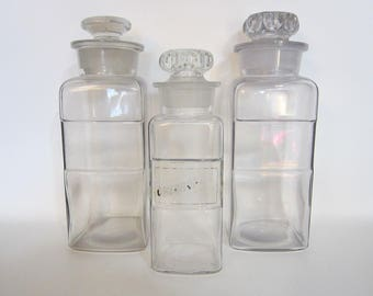 3 vintage apothecary jars - Fay & Schueler clear glass bottles - March 1894 St. Louis MO - label indentation, glass stoppers