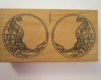 vintage rubber stamp - ornate circles, Comotion EARRINGS rubber stamp - 2206