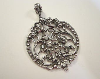 large vintage pendant - signed Avon, silver tone - filigree, statement piece