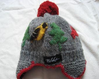 Blake child's knit hat with birds and trees-mint