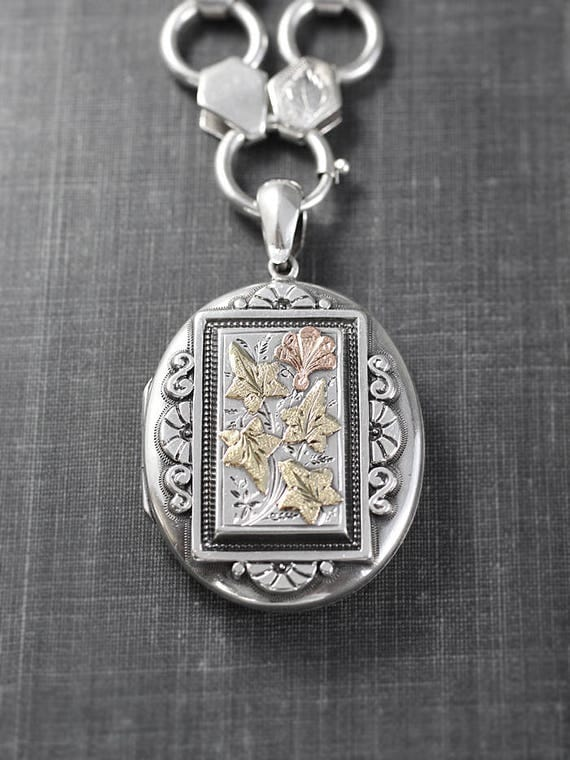 1880 Antique Sterling Silver Locket Necklace, Large Oval Photo Pendant with Gold Ivy Leaves and Silver Book Chain - Antique Couture
