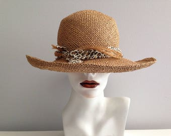 Vintage MARGOS CUSTOM TORONTO Straw Hat / Handmade One Of A Kind Leapard Print Hat / Garden Fashion / Beach Wear