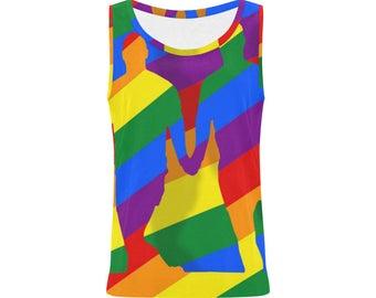 Love is Love! Womens Tank Top | Bright Rainbow Print Top | LGBTIQ Pride | Size XS S M L XL 2XL | Easy Fit Stretch | Unique Designer Fashion