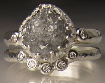 Raw Diamond Engagement Set, Raw Diamond Ring, Hammered Rough Diamond Ring, 3.90CTS