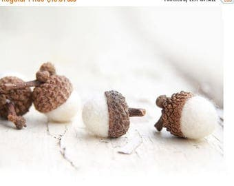 ON SALE Set of 12  SNOW White  Wool Felted Acorns-  As seen in Southern Living magazine