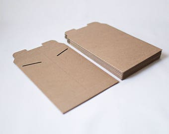 New Size 6in x 8in  -Kraft Stay Flat Mailers- Set of 25 Rigid mailers for shipping, art and print presentation and wedding invitations