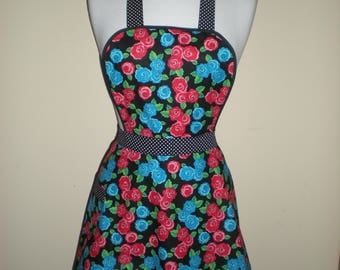 Vintage handmade style full apron red blue black green retro flower print NEW cotton Great for kitchen teas and hens nights