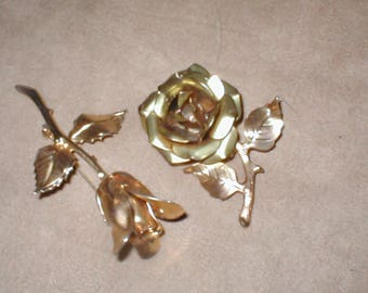 Vintage loy of two Gold ROSE Brooches