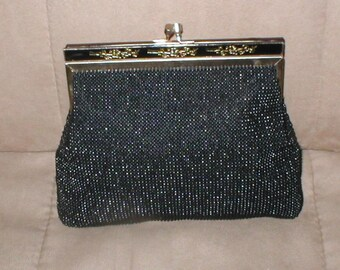Vintage Black Beaded Evening Bag Clutch Purse