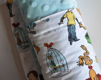 Baby Blanket, X LARGE, Snuggle Size, Dr. Seuss and Aqua Minky What Pet Should I Get?