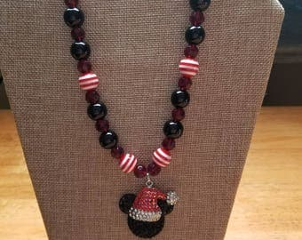 Mickey Mouse Necklace with Mickey wearing Santa Hat Rhinestone Pendant