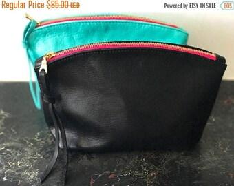 summer sale Black leather clutch, toiletries bag, zipper pouch, black leather bag, small black bag