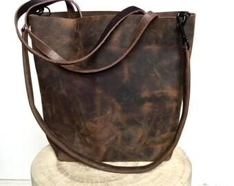 summer sale Dark Brown Leather Tote Bag - large brown leather bag - Leather Travel Bag - dark brown Leather Market bag - crossbody bag