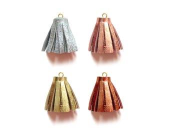 0.75 Inch - Metallic Tassels, Tassel Charm, Mini Tassels, Leather Tassels, Craft Tassels, Jewelry Tassels, Crafting Supply, Rose Gold Tassel
