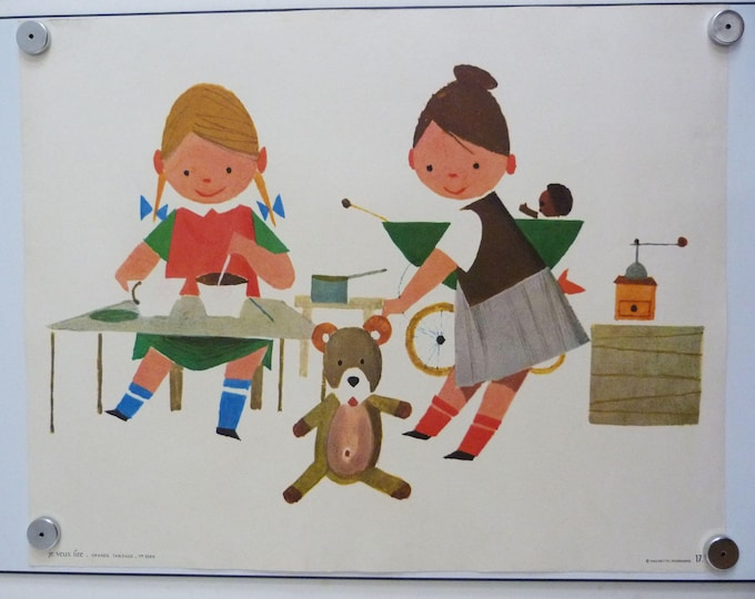 Vintage poster French children's classroom 1960's Maurice Grimaud