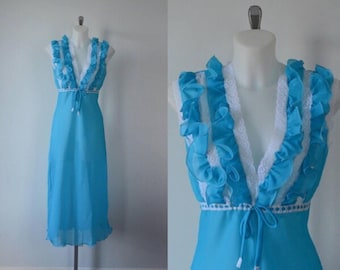 Vintage Blue Nightgown, 1970s Nightgown, Vintage Nightgown, Made in Italy Nightgown, Vintage Lingerie
