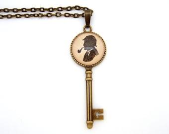 Sherlock Necklace, Key Necklace, Sherlock Jewellery,Holmes Necklace, Superwholock, Book Jewellery, Geek Chic, Literary Jewellery,