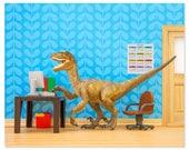 Velociraptor dinosaur decor art print: Fast Forwards