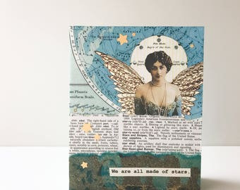 Graduation Card - Handmade Card -- We are all made of stars -  vintage dictionary, celestial , OOAK Collage, teal, wings, graduation