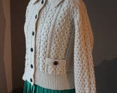 LIQUIDATION 50% OFF ON Sale from 129 to 59! 40s Handcrafted Donegal Aran Cardigan Sweater Cropped Blouson Style bodice and Sleeves Leather B