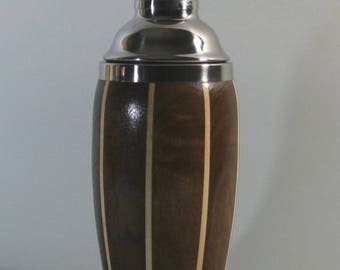 Walnut Cocktail Shaker with Maple Stripes