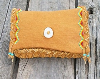 ON SALE Beaded leather clutch ,   Buckskin leather clutch ,  Soft leather wallet ,  Beaded tobacco pouch ,  Handmade bag