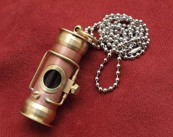 Steampunk capsule necklace, lathe turned copper and brass