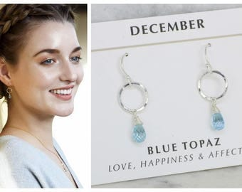 December birthstone earrings, blue topaz earrings for December birthday gift, dainty circle earrings - Clare