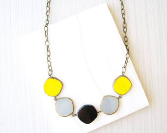 Beaded Brass Necklace, Yellow  Bib, Colorful, Grey, Black, Czech Glass, Geometric Jewlery, Simple, Adjustable, Gold Toned