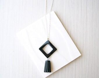 Long Black Necklace, Tassel Jewelry, Geometric, Onyx, Semiprecious Stone, 3rd Anniversary Gift, Silver, Boho, Bohemian