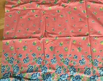 "Vintage Cotton Fabric Border Print 1930's 1 Yd. L 36"" W Pinks & Blues"