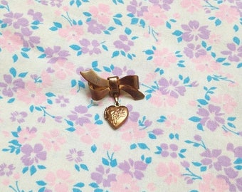 SALE Tiny Vintage 1980s Bow and Locket Brooch