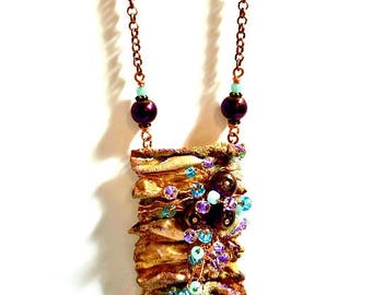 Repurposed Recycled Upcycled, Artsy Statement Necklace, Wearable Art Jewelry