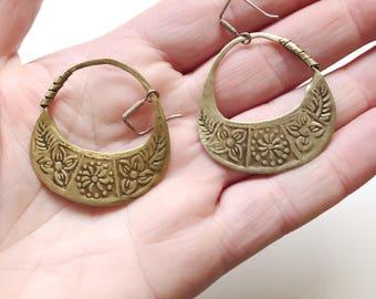 Vintage Hoop Stamped Gypsy Boho Dangle Earrings