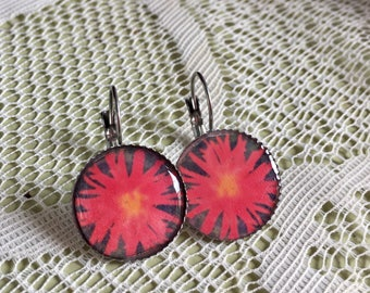 Chilean Red Wood Flower - Lever Back Short Photograph Earrings.