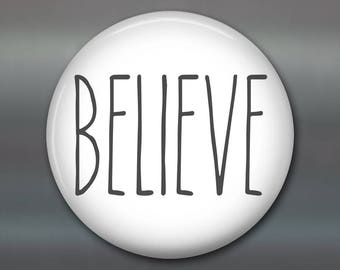 Believe sign farmhouse kitchen decor - farmhouse decor - best friend gift - inspirational decor - round fridge magnet, word art - MA-SIM-14