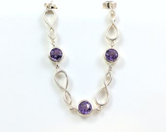 Sterling Silver Amethyst Bracelet Purple Gemstone Figure 8 Chain Bracelet Very Giftable February Birthstone Anytime Accessory Fashionable