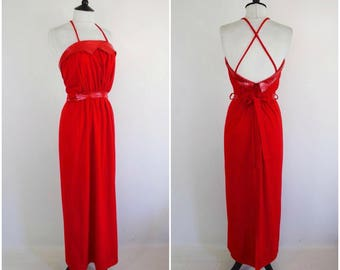 70s 80s party dress vintage ruby red german