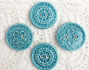 Ceramic turquoise buttons - Hand made
