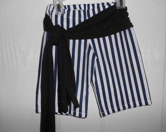 Kids pirate pants capris length red white striped or blue white striped with black sash infant thur 8 years
