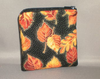 Coin Purse - Gift Card Holder - Card Case -Small Padded Zippered Pouch - Mini Wallet - Autumn Leaves - Foliage