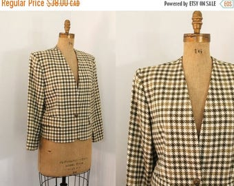 80s jacket - houndstooth wool jacket - 80s blazer - 80s clothing - medium large