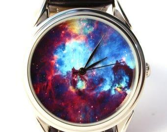 ON SALE 25% OFF Nebula Galaxy Watch. Man Watch. Watch Women. White Watch, Watch Band, Wristwach, Gift Watch. Metal Watch