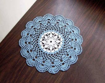 French Lace Scallop Crochet Lace Doily, Delft Blue and White, Table Centerpiece, Paris Bedroom Decor, Sea Shell Edging, 11 Inch Doily