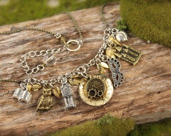 Labyrinth Inspired Clock Owl Charm Necklace