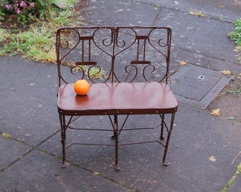Rare Child's Ice Cream Parlor Twisted Wire 2 Seater Bench ~ Child's Chicago Twisted Wire Garden Bench ~ Antique Doll's Twisted Wire Bench