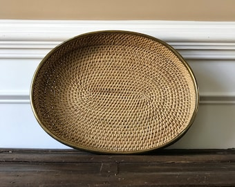 Vintage Basket Tray. Large Woven Tray with Brass Rim. Round Wall Basket.