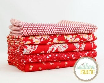 "Little Ruby - Red - Fat Quarter  Bundle - 5 - 18""x21"" Cuts - Bonnie and Camille - Moda Quilt Fabric"