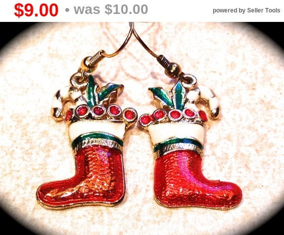 Summer Sale Fun santa boot  earrings- Christmas earrings- Holiday Earrings- Santa Claus Jewelry- Boots - Gifts under 10- Gifts for Girls ...